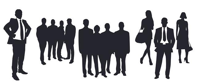 ビジネスマンたちの影絵